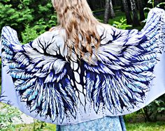 Blue Angel Wings - 100% cotton, Women's Shawl, clothing wings, original design, feathers scarf, sarong wrap, painted scarf, scarf chic