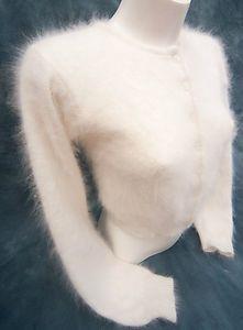 Harrods Very Fluffy White 70% Angora Cardigan (UD) | eBay