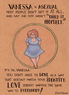 """Translated by Rosie Werner Grant [image text] Vanesa is asexual. Most people don't get it at all, and say she just hasn't """"tried it properly"""". It's ok, Vanessa. You don't have to love in a way that doesn't match your identity. Love doesn't happen the same way to everybody!"""