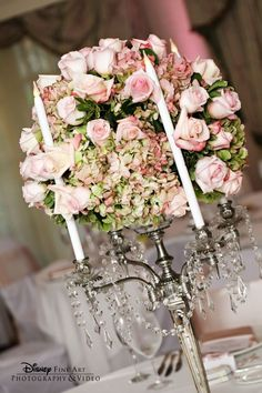 Candelabras are a great choice for pretty and chic centerpieces #wedding #roses #flowers #pink by Sabina