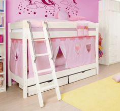 Etagenbett / Doppelstockbett für Kinder aus Massivholz. Kleine Prinzessinnen werden sich hier sehr wohlfühlen.