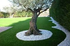 Backyard landscaping designs - Rojo Coralito Marble and Crema Marfil Crushed Stone Jardines Landscaping Around Trees, Outdoor Landscaping, Front Yard Landscaping, Mulch Around Trees, Landscaping Plants, Outdoor Decor, Back Gardens, Outdoor Gardens, Backyard Garden Design