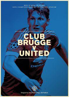 Match poster. Club Brugge v Manchester United, 26 August 2015. Designed by @manutd
