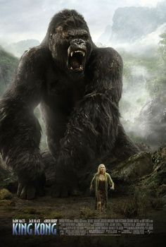 King Kong movie poster directed by Peter Jackson with Adrian Brody, Naomi Watts, and Jack Black.