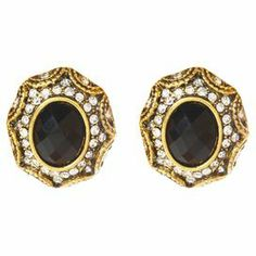 """Set of gold-tone brass earrings with jet black stones and Austrian crystals.  Product: Pair of earringsConstruction Material: Brass, Austrian crystals and resin stonesColor: Black and goldDimensions: 0.75"""" H x 0.5"""" W each"""