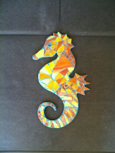 Hanging Mosaic Stained Glass Seahorse by TropicalGardenArt on Etsy