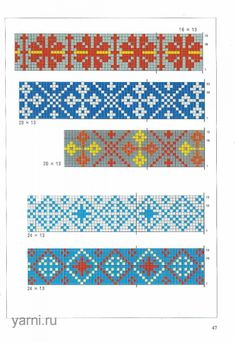 """The album """"Knitter's Home 3000 - The Chinese book of jacquard knitting patterns page 47 Fair Isle Knitting Patterns, Knitting Charts, Loom Patterns, Knitting Stitches, Knitting Designs, Stitch Patterns, Pixel Crochet, Crochet Chart, Cross Stitch Borders"""
