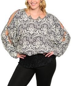 Black & Cream Damask Shoulder Cutout Top - Plus #zulily #zulilyfinds