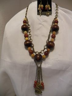 Large Natural Wood Beads and gemstones Necklace and Earrings Set