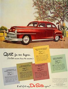 This is an original 1946 color print ad for Chrysler's DesSoto sedan. Not only the creativity of the ad's quiz, but the beautiful and romantic illustration, makes this print especially unique. CONDITI