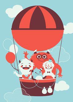 Fly Away by Pamela Barbieri, via Behance Balloon Illustration, Flat Illustration, Illustrations, Illustration Children, Character Art, Character Design, Monster Characters, Cute Monsters, Monster Art