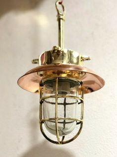 NEW NAUTICAL MARINE SHIP HANGING CARGO SHIP PENDANT LIGHT WITH COPPER SHADE