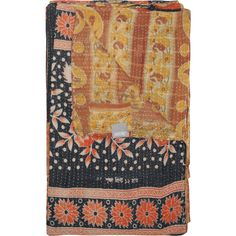 Taj Hotel Vintage Handmade Kantha Dark Blue Throw