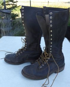 """Rare Vintage Red Wing Lineman Boot Made in USA Motorcycle Lace up 16"""" Tall 9E  #RedWing #WorkBoots"""
