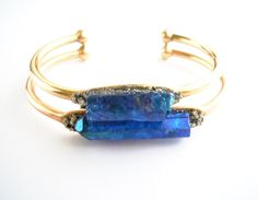 Indigo Raw Crystal Point Bracelet - Indian Summer - Raw Stone- Pyrite Minerals -Cuff  Bracelet - Boho by NaturalGlam on Etsy https://www.etsy.com/listing/228684210/indigo-raw-crystal-point-bracelet-indian