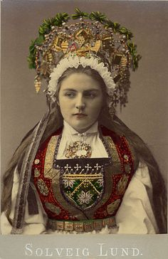 A Bride from Hardanger, Norway  by Solveig Lund, between 1870 and 1920. Notice all the stitching on her bodice.