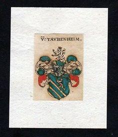 17. Jh. von Taubenheim Wappen coat of arms heralrdy Heraldik Kupferstich