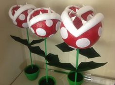 My piranha plants are done! 4 in total, tutorial going up on my blog soon...