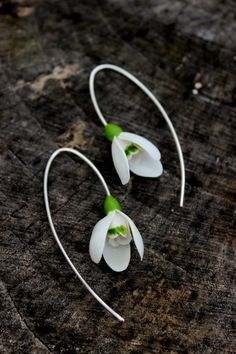 Snowdrop earrings from polymer clay  bridal by PolymerFlorejewelry