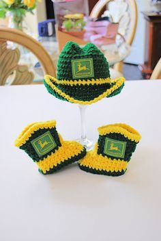 Adorable John Deere Newborn Cowboy Hat and matching Boots. Makes a perfect baby shower gift or photo prop for the littlest farmer/tractor- could do any color scheme Deer Baby Showers, Baby Boy Shower, Baby Shower Gifts, Baby Gifts, John Deere Nursery, John Deere Baby, John Deere Crafts, Newborn Cowboy, Crochet Cowboy Hats