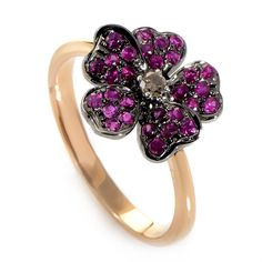 18K Rose Gold Diamond & Ruby Flower Ring//