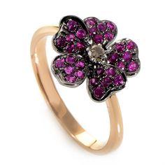 18K Rose Gold Diamond & Ruby Flower Ring//