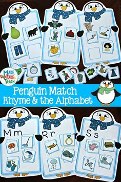 Fun penguin-themed activities for rhyme and beginning sounds!