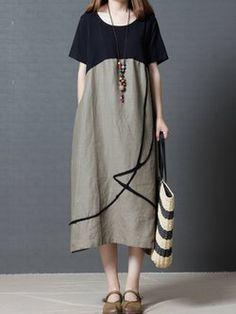 Robe à lin à manches courtes