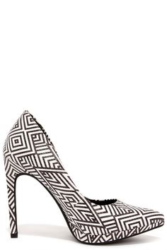 White and Black Print Platform Pumps