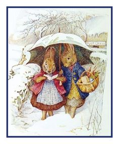 Mr and Mrs Rabbit Have a Snow Day by Beatrix Potter Counted Cross Stitch Chart / Pattern FREE Shipping