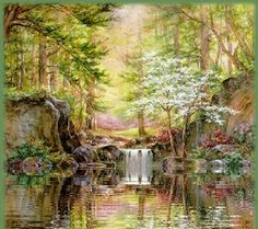 light colored forest and pond animation