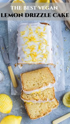 Vegan lemon drizzle cake - this is the ultimate eggless and dairy free lemon drizzle cake recipe - soft, moist, easy to make and intensely lemony! Vegan Lemon Drizzle Cake, Eggless Lemon Cake, Lemon Sponge Cake, Lemon Tea Cake, Lemon Desserts, Lemon Recipes, Healthy Desserts, Best Cake Recipes, Sweet Recipes