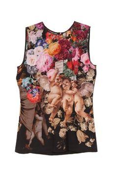 Dolce & Gabbana - Multicolored Cherub and Roses Silk Top