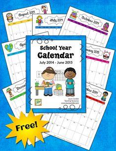 Corkboard Connections: School Year Calendar 2014 - 2015 Freebie