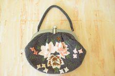 Vintage  1950's Floral Beaded Clutch  | Pearled Bakelite Frame by GracedVestige on Etsy
