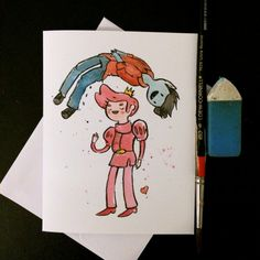 This listing is for a blank card I made that was inspired by Marshall Lee and Prince Gumball from Adventure Time. Would be great card for a romantic