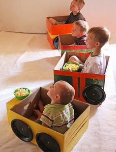 Box-Cars for Movie night. Love the hood table. Great idea for old diaper boxes.