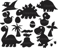 INSTANT DOWNLOAD Dinos silhouettes