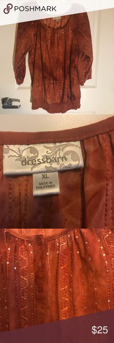 Dress Barn Orange Blouse Dress Barn orange blouse. Like new condition. Soft material with sequins. Perfect to dress up for a night out  or a day at work. Wonderful shirt to be worn with jeans! Dress Barn Tops Blouses