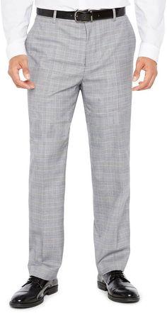 Jf J.Ferrar Men's JF Stretch Black White Flat-Front Straight-Leg Slim-Fit Pant