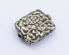 LARGE Tibetan Repousse Carved Square Tibetan Silver Focal Bead with Lotus Floral Details - Tibetan Silver Beads - Tibetan Beads - B1066