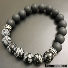 A powerful protection stone, Black Onyx absorbs and transforms negative energy, and helps to prevent the drain of personal energy. Black Onyx aids the development of emotional and physical strength and stamina, especially when support is needed during times of stress, confusion or grief. Black Onyx fosters wise decision-making....#LOA .  Bracelets I Beaded & Charm Yoga Mala I Meditation & Mantra I Spiritual. Black onyx Obsidian Snowflake.