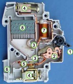 Inside Circuit breaker - Wikipedia, the free encyclopedia Electrical Engineering Books, Electrical Projects, Electrical Installation, Diy Electronics, Electronics Projects, Electronics Components, Electrical Wiring Colours, Electrician Wiring, Power Lineman