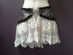SALE 30% OFF adult crochet belt hippy gypsy skirt black