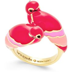 kate spade new york Gold-Tone Pink Parrot Ring ($78) ❤ liked on Polyvore featuring jewelry, rings, accessories, gold, kate spade jewelry, cocktail rings, gold tone jewelry, goldtone jewelry and kate spade