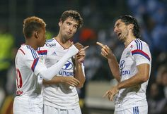Celebración de Yoann Gourcuff en el Lyon 1-0 Marsella de ayer.