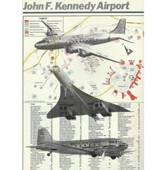 """JFK Airport Map with Airplanes Concorde Flying Sky  Mid Century- John F. Kennedy Airport 8x10"""" Print"""