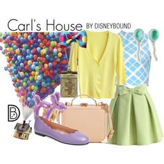 Carl's House by leslieakay on Polyvore featuring Motel, Chicwish, French Sole FS/NY, Aspinal of London, Modern Organic Products, Disney, Charlotte Olympia, disney, disneybound and disneycharacter