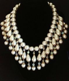 Vintage pearl bib necklace