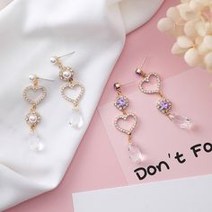 Alloy Korea Sweetheart earring(H4301 purple diamond) NHMS1341-H4301-purple-diamond